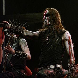 Early Norwegian black metal scene - Norwegian black metal singer Gaahl wearing corpsepaint