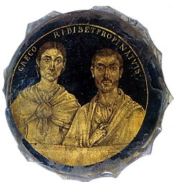 Gold-glass portrait of husband and wife (Biblioteca Apostolica Vaticana, Museo Sacro, Inv. no. 743).jpg
