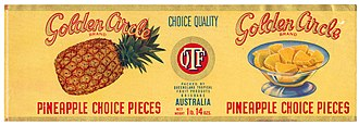 Golden Circle (company) - Golden Circle pineapple can label, circa 1947