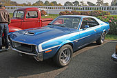 Shows a blue 1970 Javelin