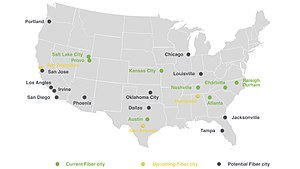 Google Fiber - A map of cities with Google Fiber