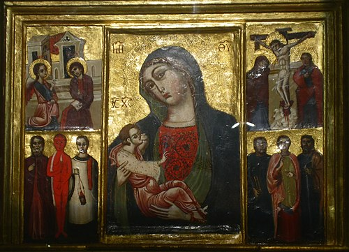 Icon with a Madonna and Child depiction, surrounded by key events in Mary's life. Trsat, Croatia (c. 12th century) Gospa Trsatska.jpg
