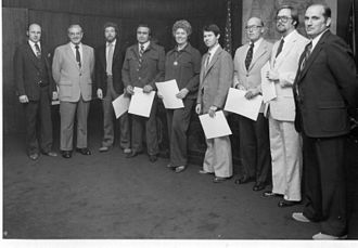 Victor Atiyeh - Governor Atiyeh (2nd from left) meeting with delegation in Oregon State Capitol, 1980