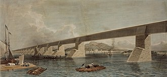 Quebec, Montreal, Ottawa and Occidental Railway - Image: Grand Trunk Railway of Canada, Victoria Bridge, now constructing across the St. Lawrence River at Montreal