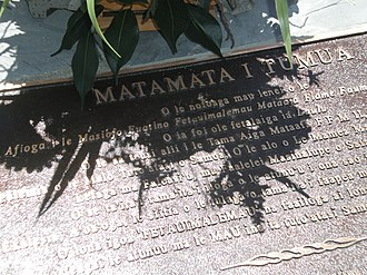 Laulu Fetauimalemau Mata'afa - Gravestone inscription in the Samoan language of Laulu Fetauimalemau Mata'afa
