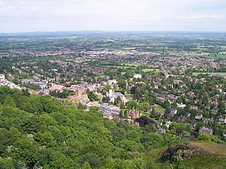 Malvern, Worcestershire - Image: Great Malvern from the Hills geograph.org.uk 180560