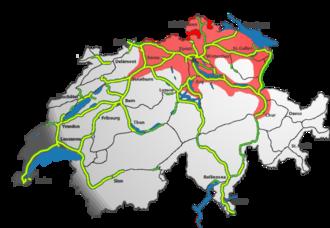 Zurich metropolitan area - Location within Switzerland