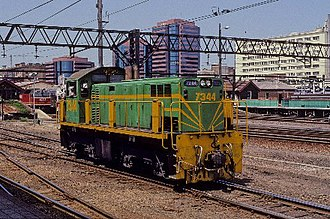 Rail Motor Society - 7344 shunts at Sydney Central in October 1991 painted in experimental FreightCorp green livery