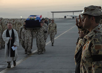 Coalition casualties in Afghanistan - The repatriation ceremony for Australian Private Gregory Michael Sher, killed in southern Afghanistan in 2009, making him the first Australian Defense Force soldier to be killed by indirect fire since 1992.
