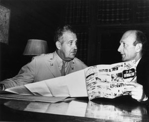 David E. Lilienthal - David E. Lilienthal (right) met with General Leslie R. Groves (left), Director of the Manhattan Project, at Oak Ridge, Tennessee, on October 1, 1946, to discuss the transfer of responsibility for atomic energy to the new Atomic Energy Commission, which President Harry S. Truman nominated Lilienthal to chair.