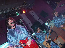 Left to right: Gruff Rhys, Huw Bunford and Guto Pryce of the Super Furry Animals at Bridgwater Palace in September 2005.