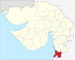 Location of Valsad district in Gujarat