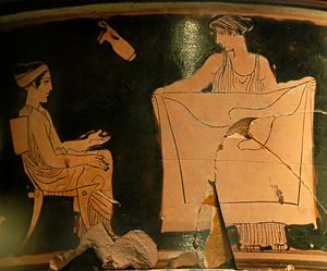 Gynaeceum - Painting on a pyxis showing a gynaeceum scene, about 430 BC