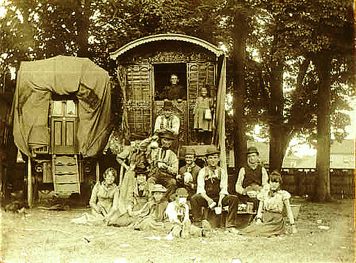 Gypsy family and travel wagon
