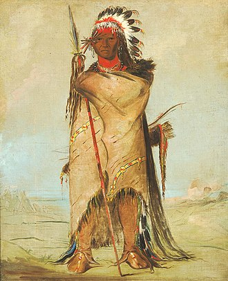 Buffalo robe - Hó-ra-tó-a, a Crow warrior with headdress, painted buffalo robe, and hair reaching the ground. Painted by George Catlin, Fort Union 1832.