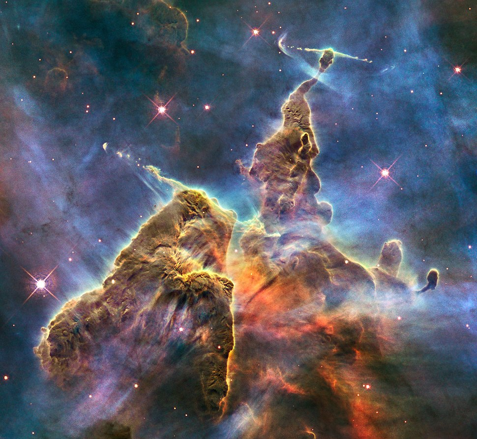 HH 901 and HH 902 in the Carina nebula (captured by the Hubble Space Telescope)