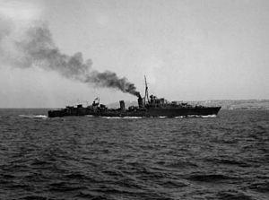 HMS Nubian (F36) - Nubian off Malta, 1943.