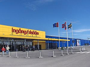 Entrance to the world's northernmost IKEA store at Haparanda, Sweden (adjacent to Tornio, Finland). The bilingual signage is in Swedish and Finnish. The leftmost flag is the Sami flag.