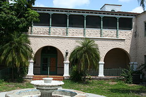 Hacienda Hotel - Courtyard of the Hacienda Hotel in April 2012. The City of New Port Richey seeks a buyer to restore it