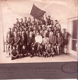 Israel Boy and Girl Scouts Federation - Haifa Maronite Boy Scouts, 1939. Center: Dr John Macqueen Chief Medical Officer for Haifa
