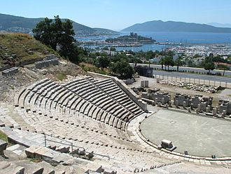 Bodrum - Theatre of Halicarnassus in Bodrum, with the Bodrum Castle seen in the background.