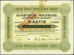 Hamburger Hochbahn - Share of the Hamburger Hochbahn AG, issued December 1919