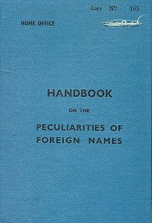 cover from the 1949 uk immigration service handbook of the peculiarities of foreign names with introduction by hm chief inspector wr perks agreeable home office person visa