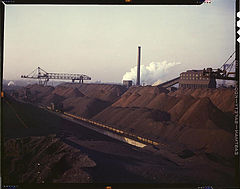 Hanna furnaces of the Great Lakes Steel Corporation, stock pile of coal and iron ore. Detroit, Michigan, November 1942.jpg