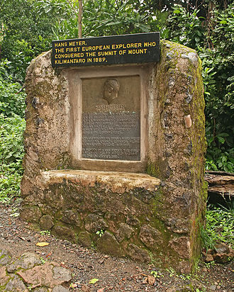 Hans Meyer (geologist) - Memorial recognizing Meyer's ascent of Mt Kilimanjaro in Kilimanjaro National Park, Tanzania