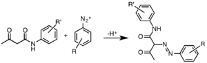 Arylide yellow - Synthesis of Hansa Yellow Pigments, R and R' represent a variety of substituents.