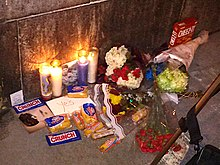 A fan tribute set up for Harold Ramis following his death in 2014 outside Hook and Ladder 8
