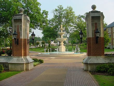 Harrison Plaza at the University of North Alabama in Florence. The school was chartered as LaGrange College by the Alabama Legislature in 1830. Harrison-plaza2.jpg