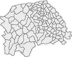 """Mapa konturowa okręgu Suczawa, w centrum znajduje się punkt z opisem """"Frasin"""""""