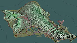 Oahu - Aerial view of Oʻahu with freeways and highways, 3D computer-generated image