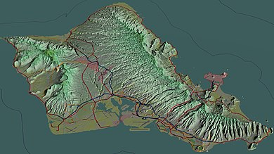 Aerial view of Oahu with freeways and highways; 3D computer-generated image Hawaii-Oahu-TF.jpg