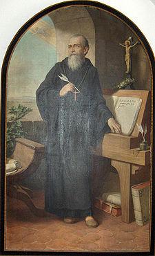 St. Benoît écrivant les règles; portrait (1926) par Hermann Nigg 1849-1928)