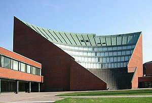 Helsinki University of Technology - Alvar Aalto's landmark auditorium of the main building. The amphitheatre-like structure contains the main auditoriums, while its exterior can be used for plays and other activities.