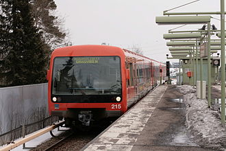 Helsinki Metro - M200 class metro train at Kulosaari metro station in 2009.
