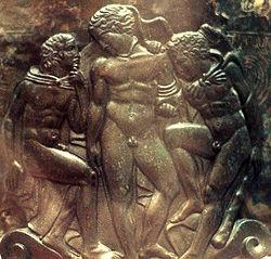Herakles, Eros i Jolaos. Waza etruska (odlew z brązu, IV w. p.n.e)