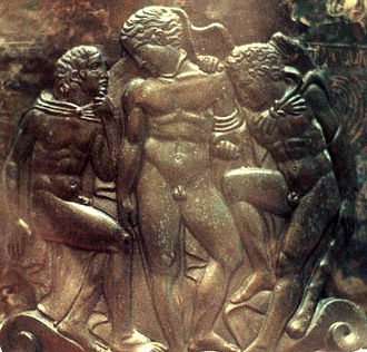 Iolaus - Repoussé and engraved relief of Hercules (right), Eros (center) and Iolaus (left) on the Ficoroni cista. 4th century BC Etruscan ritual vessel