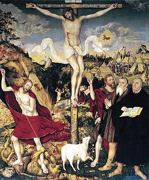 St. Peter und Paul, Weimar - Christus am Kreuz by Cranach