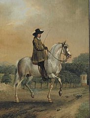Portrait of a Man on a Grey Horse