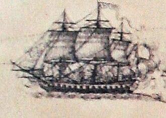 Action of 21 July 1781 - Image: Hermione au combat de Louisbourg 1781