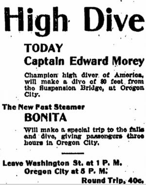 Bonita (sternwheeler 1900) - Advertisement for excursion on Bonita to Oregon City.