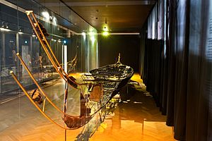 Hjortspring boat -  The reconstructed remains of the Hjortspring boat at the National Museum of Denmark in Copenhagen.