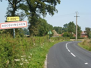 Hocquinghen (Pas-de-Calais) city limit sign.JPG