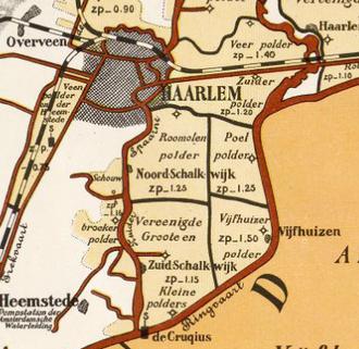 Amsterdam–Haarlem–Rotterdam railway - Polder map showing waterway vs. railway, 1901