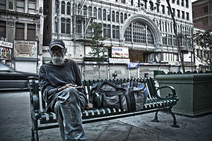 English: Homeless man in Los Angeles, CA