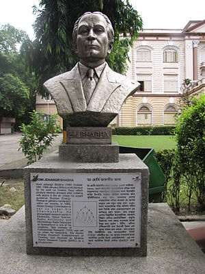 Homi J. Bhabha - Bust of Homi Bhabha which is placed in the garden of Birla Industrial & Technological Museum, Kolkata