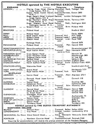 British Transport Hotels - The list of Hotels Executive properties, 1952